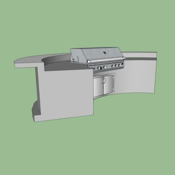 EOK Modular Curved Outdoor Kitchen with Bar and Footrest image number 0