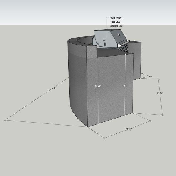EOK Modular Curved Outdoor Kitchen with  Back Splash image number 3