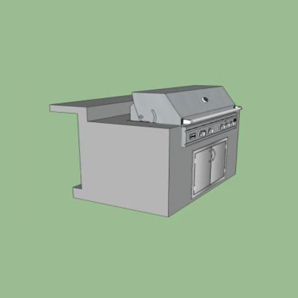 EOK Modular Straight Outdoor Kitchen with Bar and Footrest image number 0