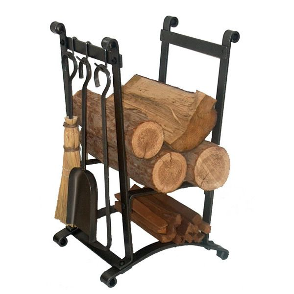 Enclume Compact Curved Indoor Firewood Rack with Tools image number 0