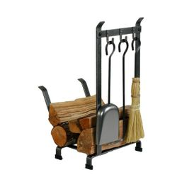 Country Home Indoor Firewood Rack with Tools