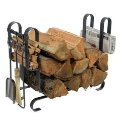 Large Modern Indoor Firewood Rack with Tools