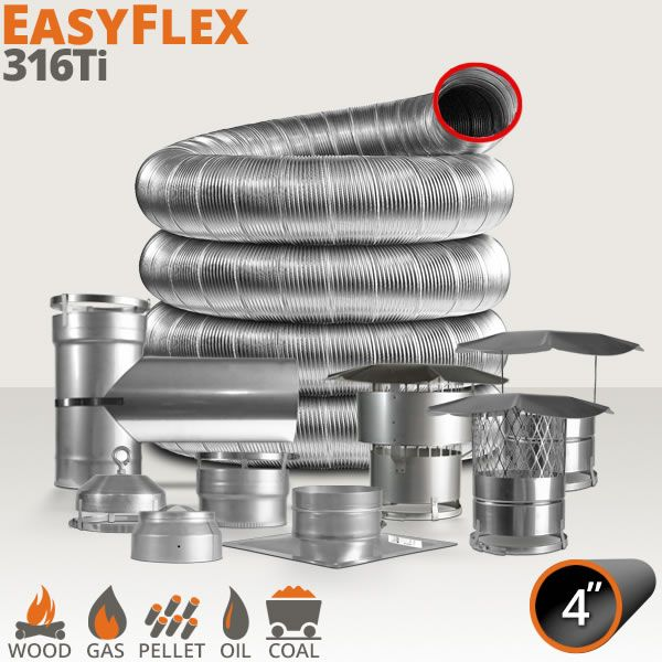 "EasyFlex 316Ti Custom Chimney Liner Kit - 4"" image number 0"