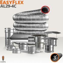 """EasyFlex AL29-4C Stainless Steel Custom Chimney Liner Kit - 3"""""""