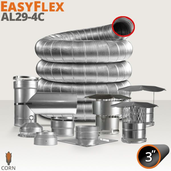 "EasyFlex AL29-4C Stainless Steel Custom Chimney Liner Kit - 3"" image number 0"