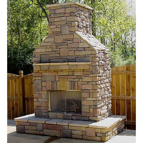 Elite Outdoor Custom Fireplace with Extended Hearth Surround image number 1
