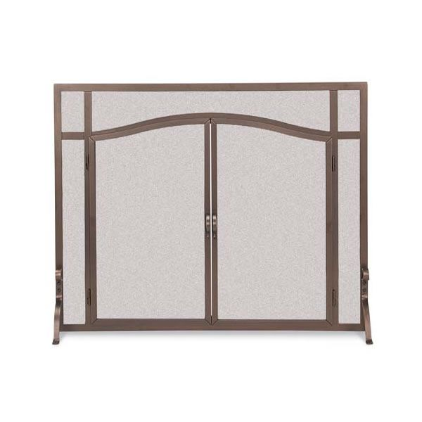 """Forged Iron Arch Top Fireplace Screen with Doors - 44"""" x 33"""" image number 0"""