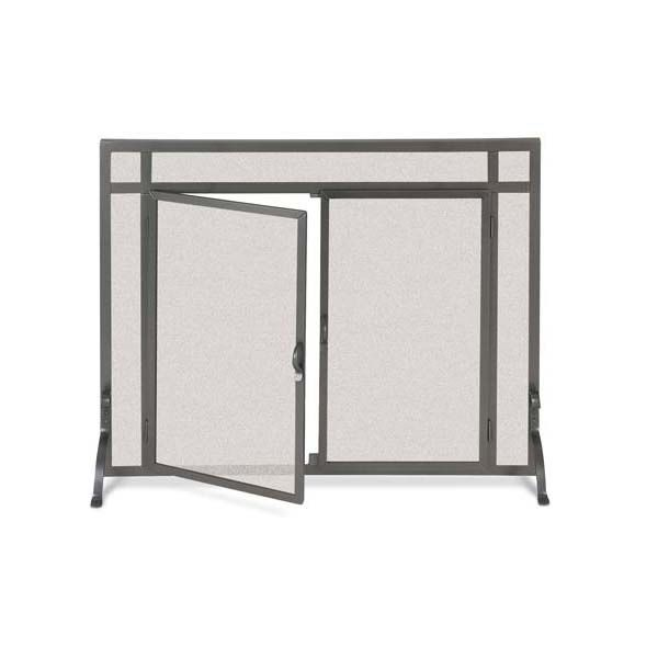 """Forged Iron Fireplace Screen with Doors - 44"""" x 33"""" image number 0"""