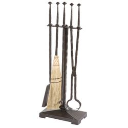 Forest Hill Fire Tool Set w/ Natural Broom (4 piece)