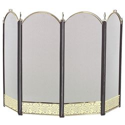 Filigree 4-Panel Brass Accent Arched Fireplace Screen