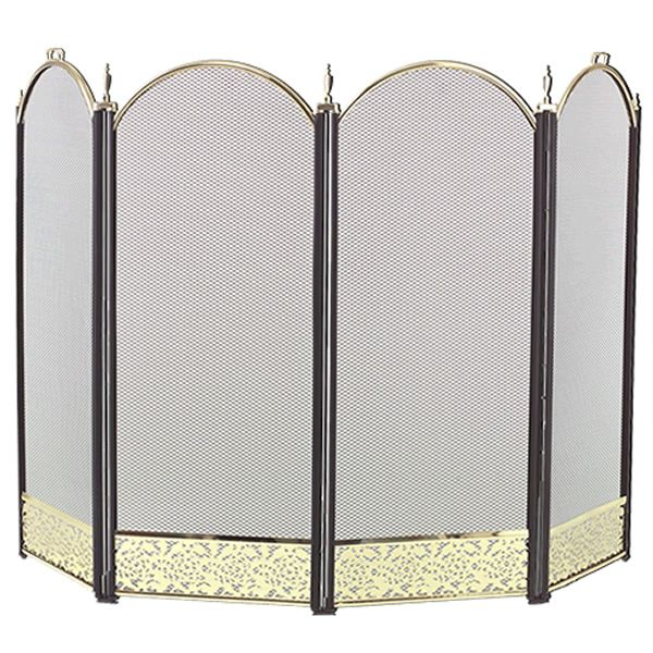 """Filigree 4-Panel Brass Accent Arched Fireplace Screen - 52"""" x 32 1/2"""" image number 0"""