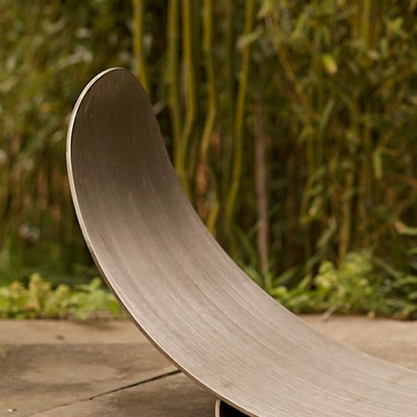 Fire Pit Art Stainless Steel Crescent Firewood Rack image number 1