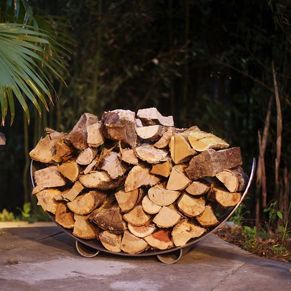 Fire Pit Art Stainless Steel Crescent Firewood Rack image number 2