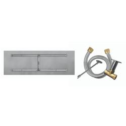 "Firegear 48""x14"" SS Flat H-Burner System - Match Lit"