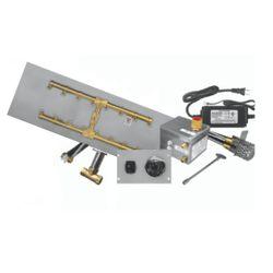 "Firegear Pro Series 60""x10"" Flat Brass H-Burner-Electronic"