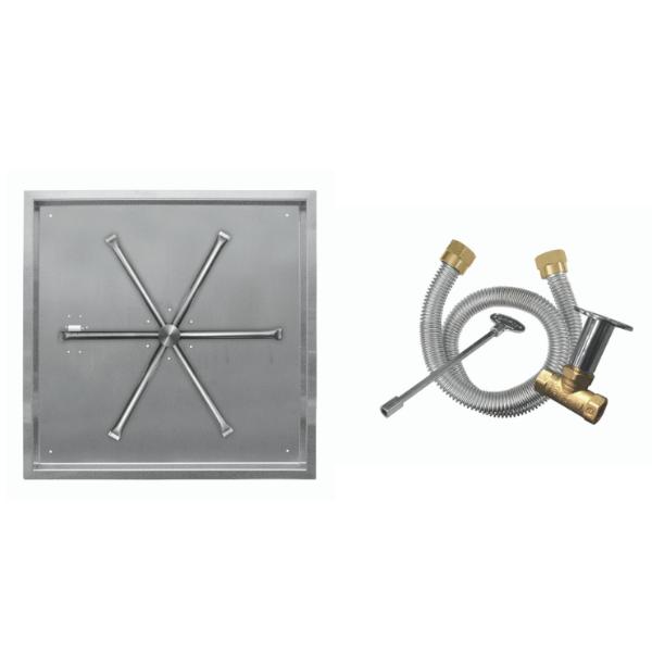 """Firegear 20"""" Square SS Drop-In Burner System - Match Lit image number 0"""
