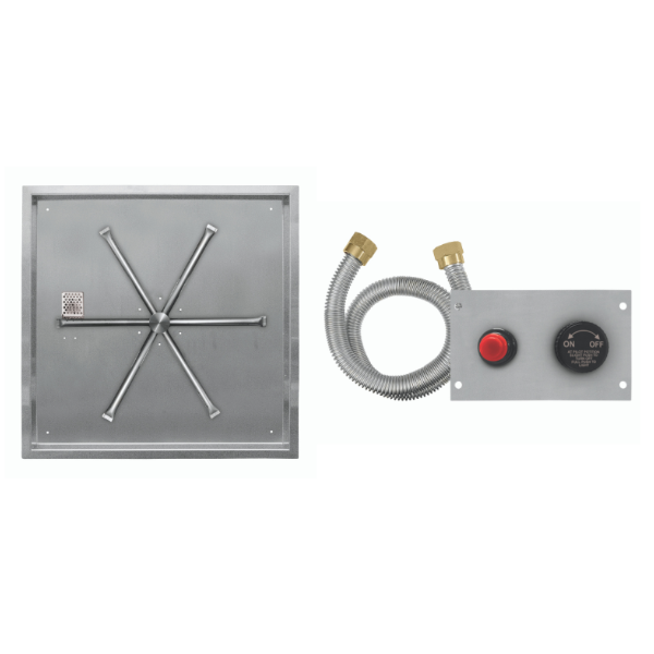 """Firegear 26"""" Square SS Drop-In Burner System - Push Button image number 0"""