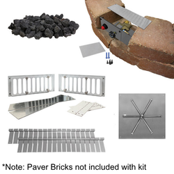 "Firegear 30"" Square DIY Fire Pit Kit - Push Button"