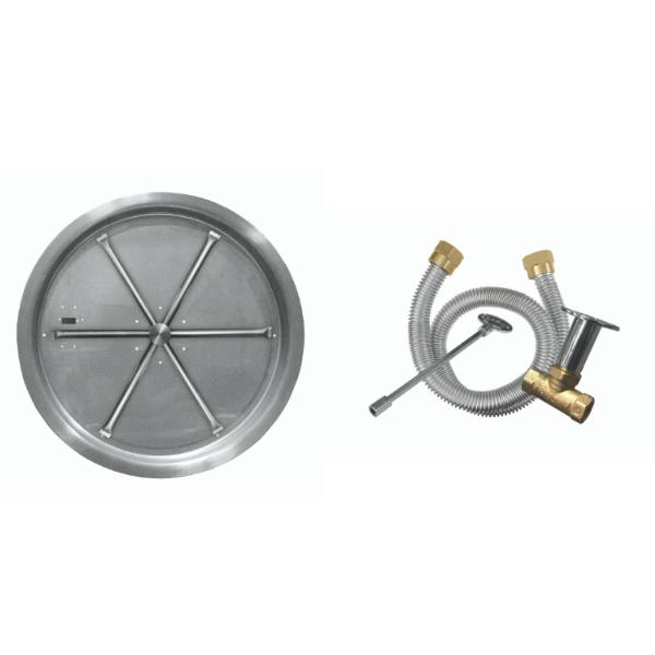 "Firegear 19"" Round SS Drop-In Burner System - Match Lit image number 0"