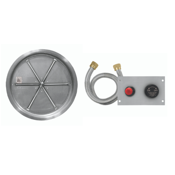 """Firegear 25"""" Round Drop-In SS Burner System - Push Button image number 0"""