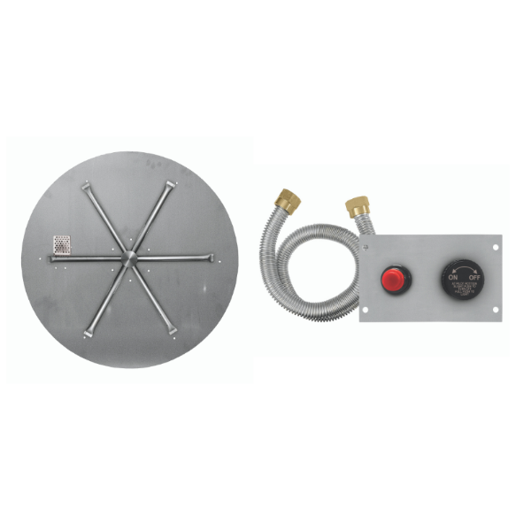 "Firegear 34"" Round SS Flat Burner System - Push Button image number 0"
