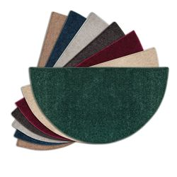 Flame Half Round Polyester Fireplace Hearth Rugs - 4'