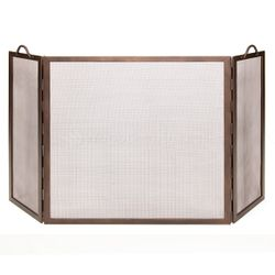 Three Panel Flat Top Twisted Rope Handle Screen - Bronze