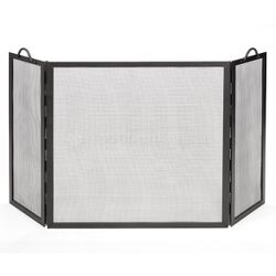 """Three Panel Flat Top Twisted Rope Handle Screen - 52"""" x 30"""""""