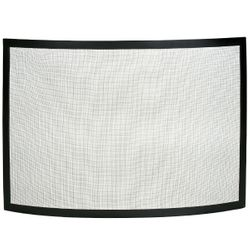 Framed Black Bowed Single Panel Fireplace Screen