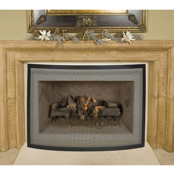"Framed Black Bowed Single Panel Fireplace Screen - 40"" x 31"" image number 1"