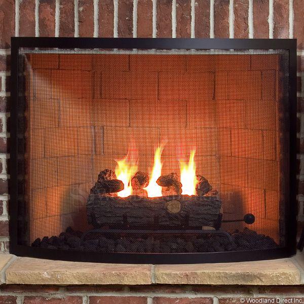 "Framed Black Bowed Single Panel Fireplace Screen - 40"" x 31"" image number 2"