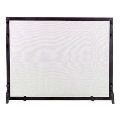 "Framed Black Wrought Iron Single Panel Screen - 39"" x 31"""