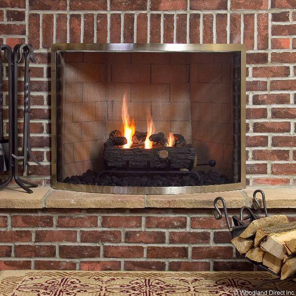 "Framed Brushed Pewter Bowed Single Panel Fireplace Screen - 40"" x 30.5"" image number 0"