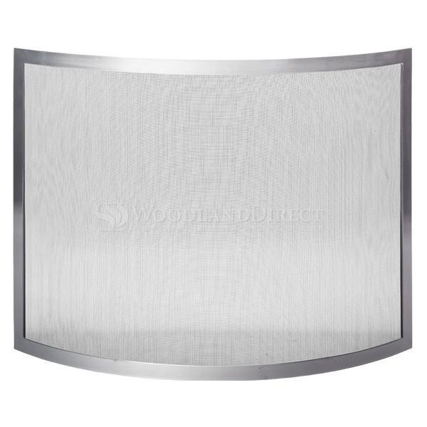 "Framed Brushed Pewter Bowed Single Panel Fireplace Screen - 40"" x 30.5"" image number 1"