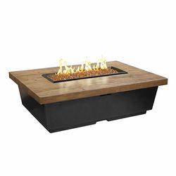 French Barrel Oak Contempo Gas Fire Pit Table - Rectangle