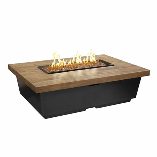 French Barrel Oak Contempo Gas Fire Pit Table - Rectangle image number 0