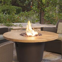 French Barrel Oak Cosmo Gas Fire Pit Table - Round