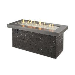 Key Largo Black Linear Gas Fire Pit - Supercast Top