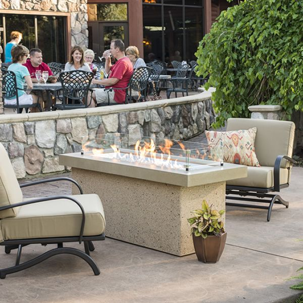 Key Largo Brown Linear Gas Fire Pit – Supercast Top image number 0