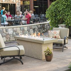Key Largo Brown Linear Gas Fire Pit - Supercast Top
