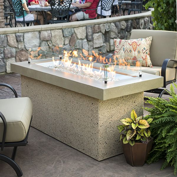 Key Largo Brown Linear Gas Fire Pit – Supercast Top image number 1