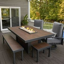 Kenwood Linear Dining Height Fire Pit Table
