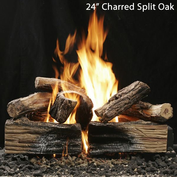 Kingsman Reversible Charred Split/Barked Oak Vented Log Set image number 2