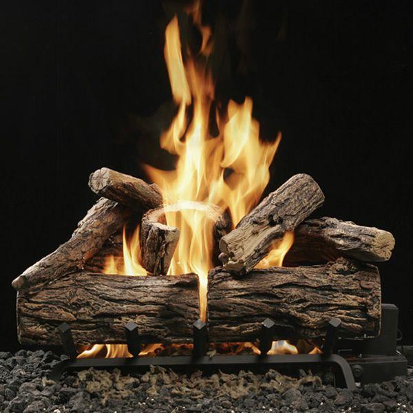 Kingsman Reversible Charred Split/Barked Oak Vented Log Set image number 0