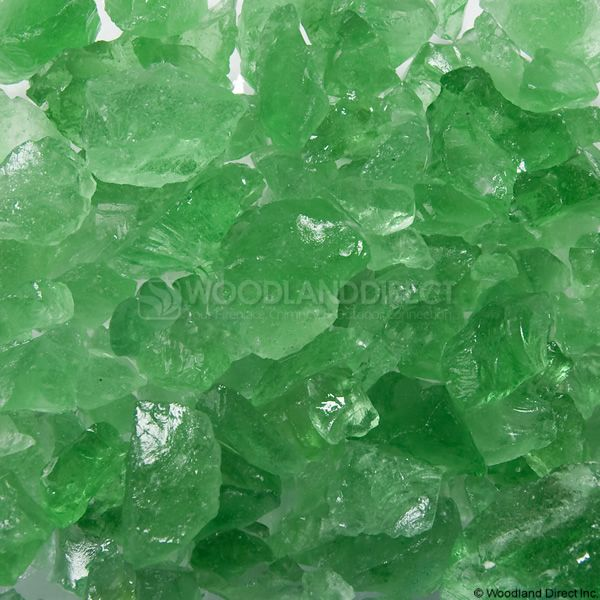 "Krystal Fire 1/4""- 1/2"" Green Ice Fire Glass image number 0"