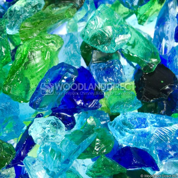 "Krystal Fire 1/4""- 1/2"" Ocean Mix Fire Glass image number 1"