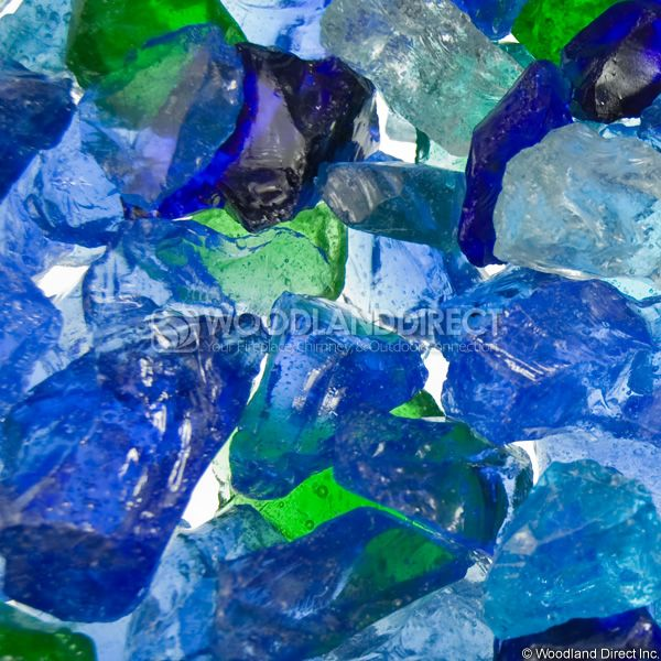"Krystal Fire 1/2""- 1"" Ocean Mix Fire Glass image number 1"