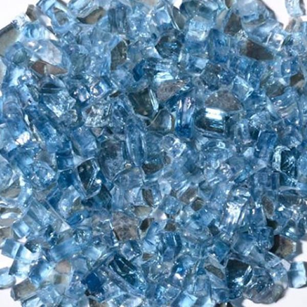 "Krystal Fire 1/4"" Reflective Blue Fire Glass - 10 lbs. image number 0"