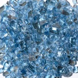 "Krystal Fire - Reflective Fire Glass 1/4"" Reflective Blue 10"