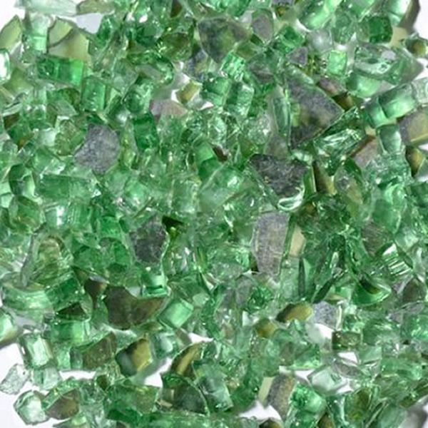 "Krystal Fire 1/4"" Reflective Green Fire Glass - 10 lbs. image number 0"
